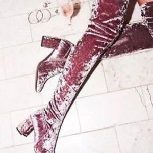 Jeffrey Campbell Cienega Taupe Crushed Velvet Boot